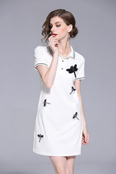 Polo Collar embroidery T-shirt dress CODE: READY669