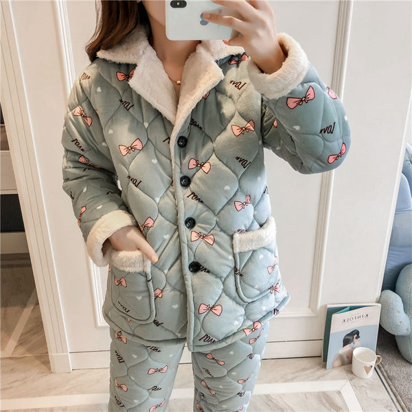 Thick layer flannel pajamas warm Set CODE: READY705