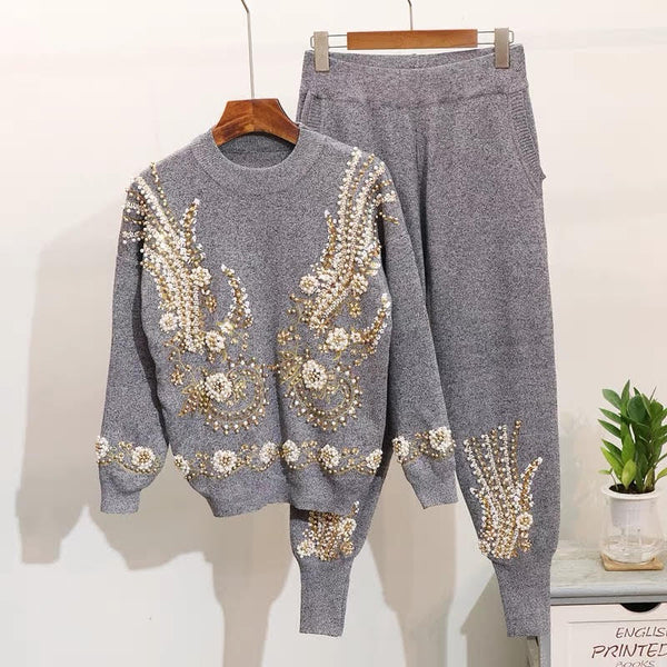 Heavy work beaded sequin embroidery  sweater pants suit CODE: READY708