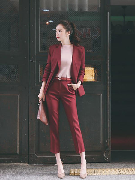 Trim Collar Fitted Long Pant Suit CODE: READY712