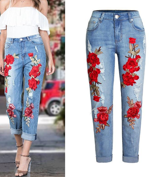 Cross Border Floral Jeans CODE: READY722