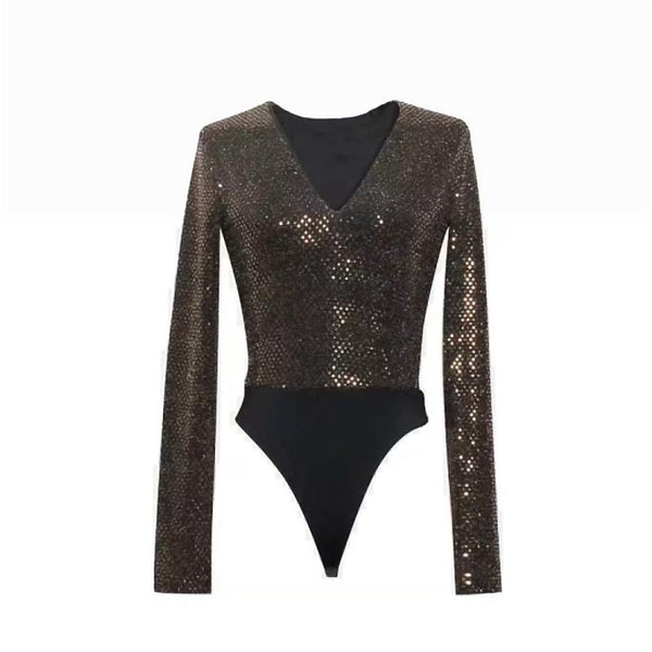 Sexy v-neck sparkling sequins Bodysuit CODE: READY726