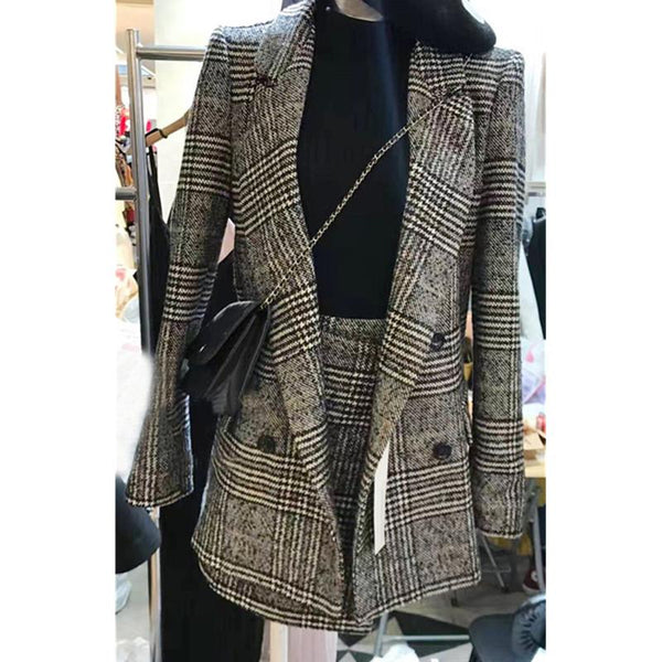 Houndstooth long plaid woolen suit + irregular skirt set CODE: READY734