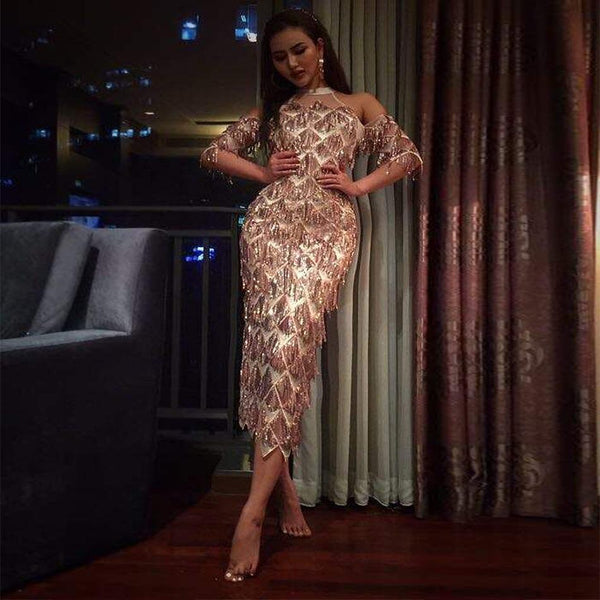 Off shoulder sequin mesh dress Clubwear CODE: READY747