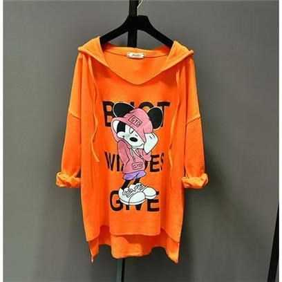 Hooded cartoon print loose pullover top CODE: READY754