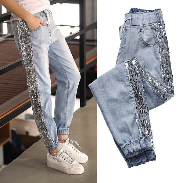 Stretch side Sequins slim fashion pants jeans CODE: READY775