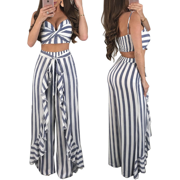 Sexy Striped Ruffled Wide Leg Pants Set CODE: READY788