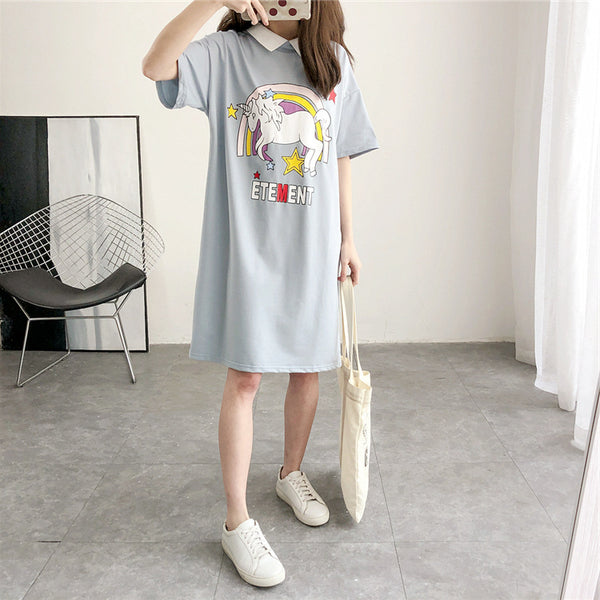 Collar short-sleeved printed T-shirt dress CODE:  READY810