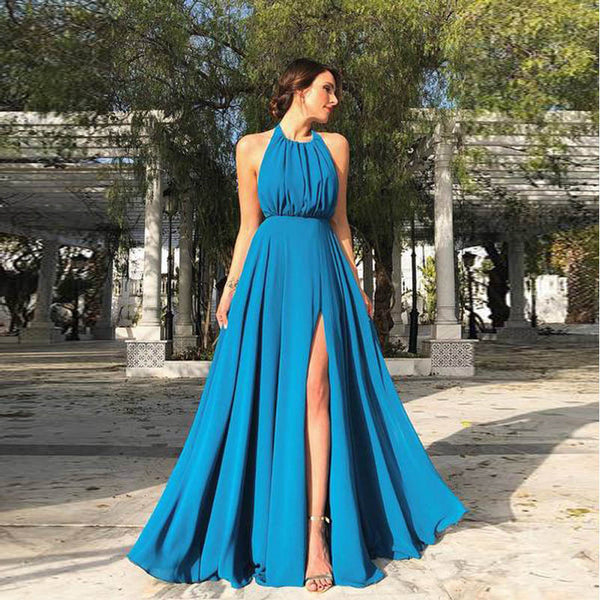 Sexy hanging neck open back long dress split beachy dress CODE: READY812