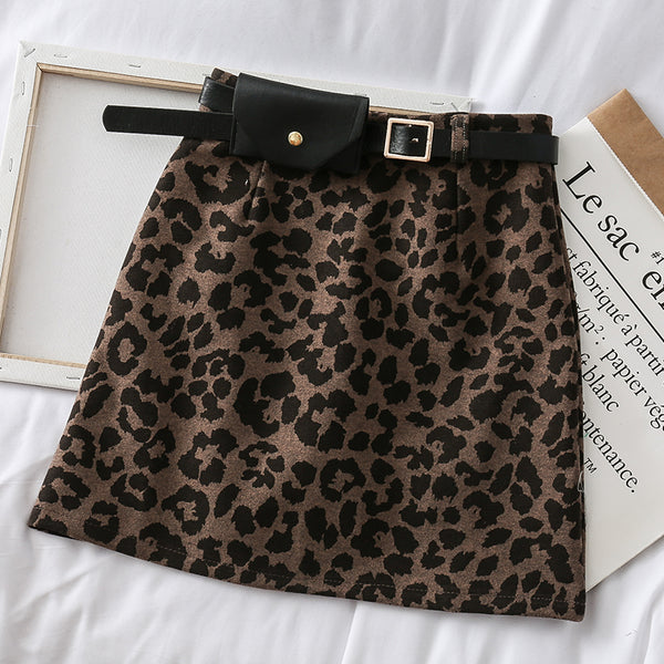 Leopard print high waist strapped hip skirt CODE: READY815