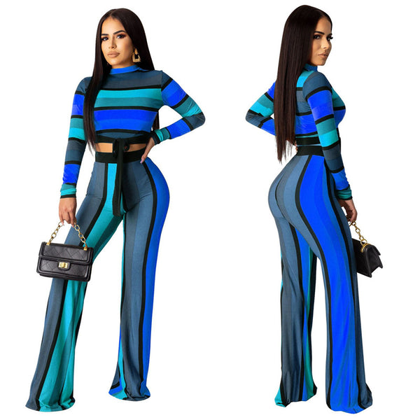 Two Piece Outfits Tracksuit Striped Long Sleeve Crop Top and Pants Set CODE: READY818