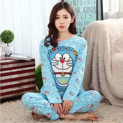 Cute Cartoon print autumn new long-sleeved pajamas set CODE: READY833