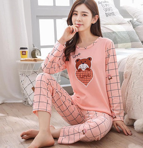 Cute Cartoon print autumn new long-sleeved pajamas set CODE: READY835