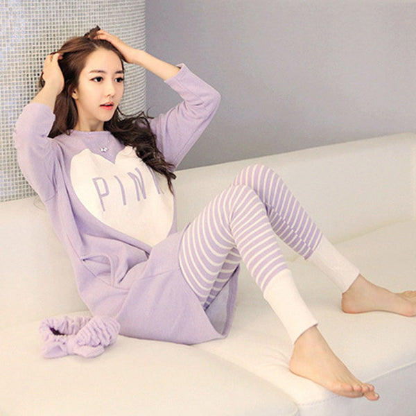 Cute Cartoon print autumn new long-sleeved pajamas set CODE: READY836