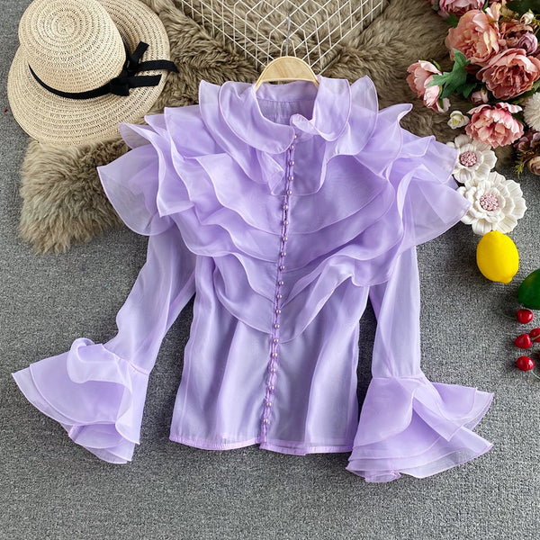 Fairy layered ruffled organza Top CODE: READY848