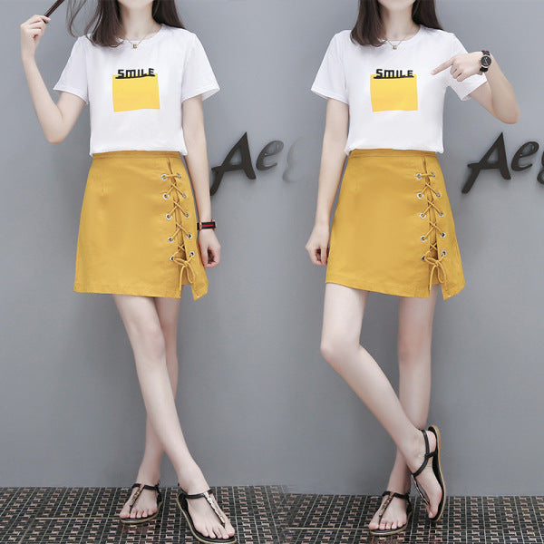 Short-sleeved T-shirt  a-line skirt two-piece set CODE: READY855