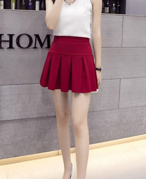 Monrsh Women's Pleated Short Skirt CODE:MON853