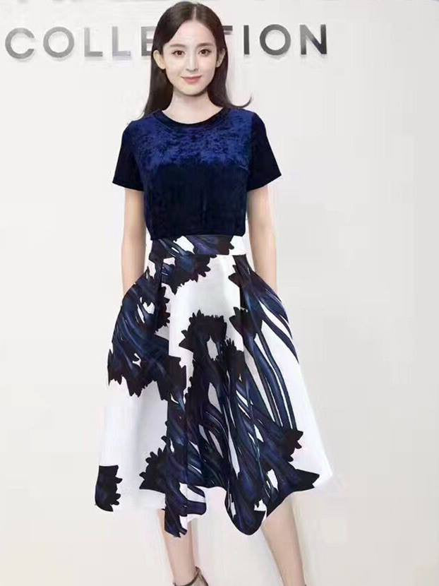 Monrsh Women's Velvet Top , Printed Skirt  Exclusive Set CODE:MON376