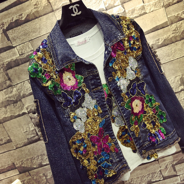 multicolored diamond denim long-sleeved short jacket CODE: mon1078
