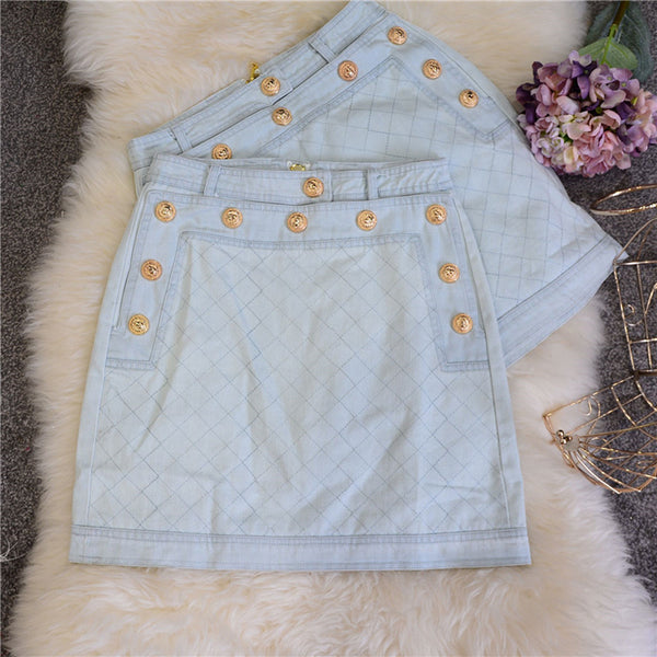 metal buckle denim skirt CODE: mon1097