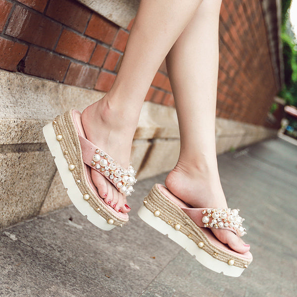 toe beaded diamond flip-flops CODE: mon1132
