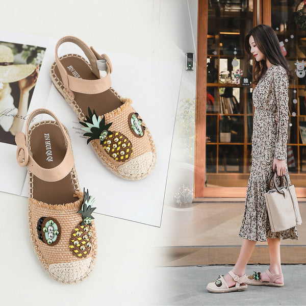 straw pastoral sandals flats CODE: mon1155
