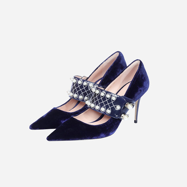 pointed velvet pearl high heel Shoes CODE: mon1236