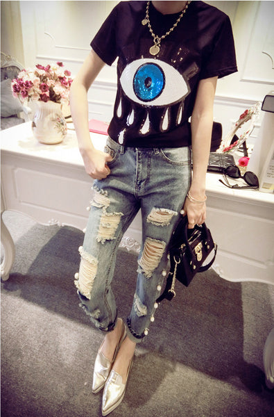 big eyes sequins t-shirt CODE: mon1258