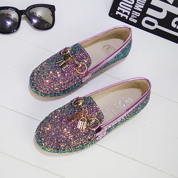 Sequins lock shallow flat shoes CODE: mon1262