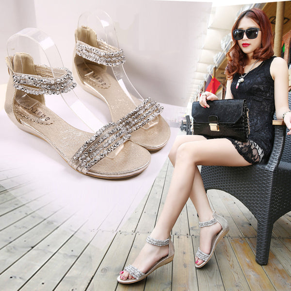 Roman sandals diamond beaded flats CODE: mon1315