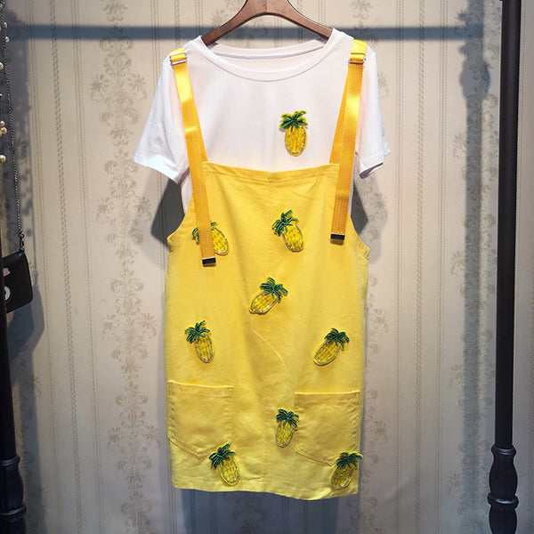 beaded diamond denim strap Dress + pineapple T-shirt two-piece Set CODE: mon1316