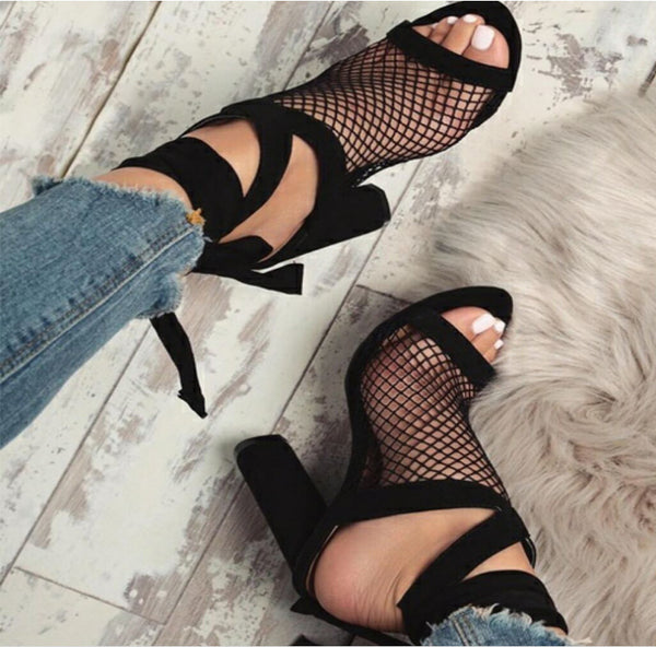 Sexy strap mesh high-heeled Sandal CODE: mon1319