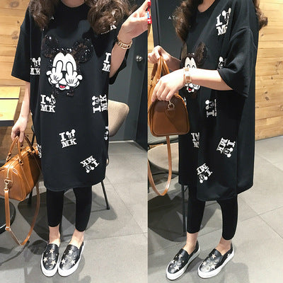 cartoon long section T-shirt dress CODE: mon1349