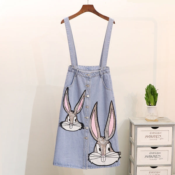 rabbit pattern sequin half skirt denim CODE: mon1376