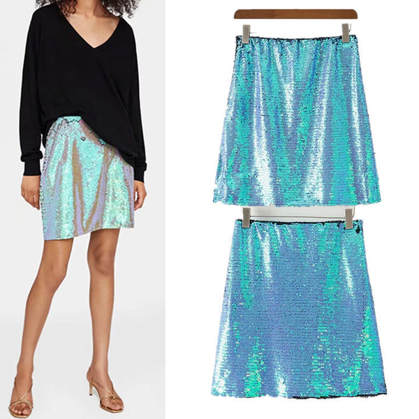 Sequin embroidery chic short skirt CODE: mon1452