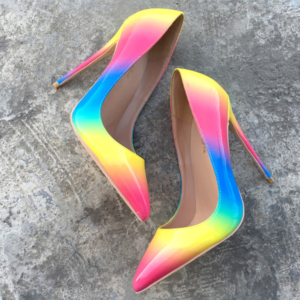 Sexy rainbow paint pointed high heels shallow mouth shoes CODE: mon1465