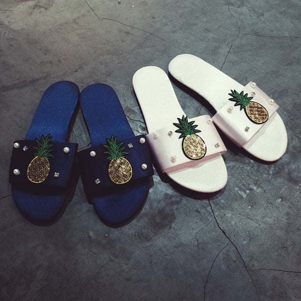 sequins pineapple pearl Slippers CODE: mon1468