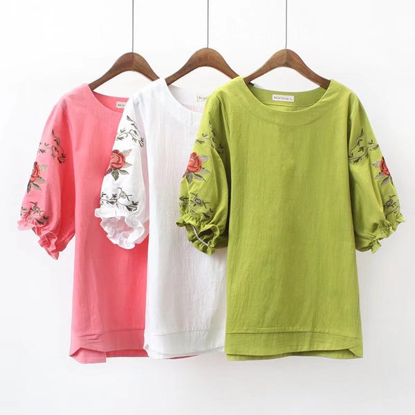 embroidery flower cotton linen Top CODE: mon1485