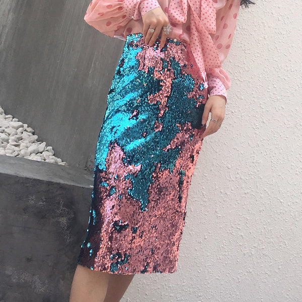 Micro-opening two-color sequined skirt CODE: mon1529