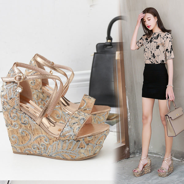 Sequin embroidery wedge sandals CODE: mon1620