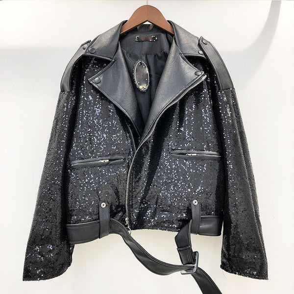 Heavy work sequined PU Jacket CODE: mon1633