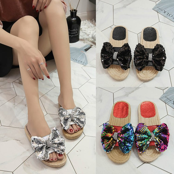 sequin bow tie slippers flats CODE: mon1651