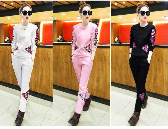 Casual fashion  sequin trousers sweater two piece set CODE: mon1677