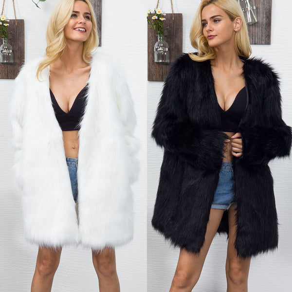 V-neck faux fur long coat CODE: mon1685