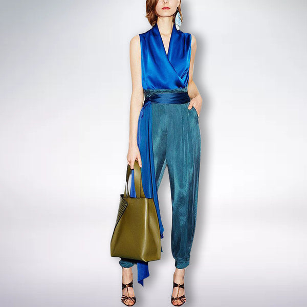 V-neck sleeveless top & tie harem pants two-piece suit  CODE: mon1687