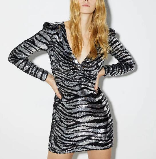 Zebra Print Sequins V-Neck Dress CODE: mon1690