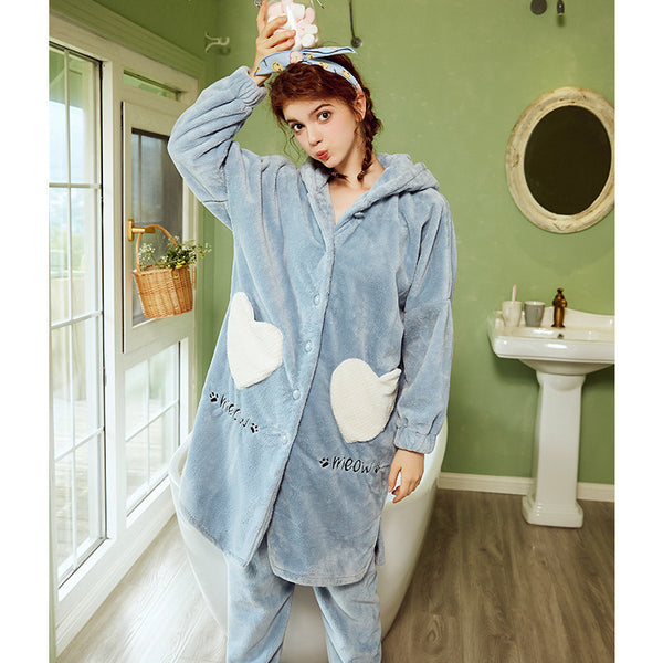 Pajamas warm flannel hooded loose cartoon Set CODE: mon1692