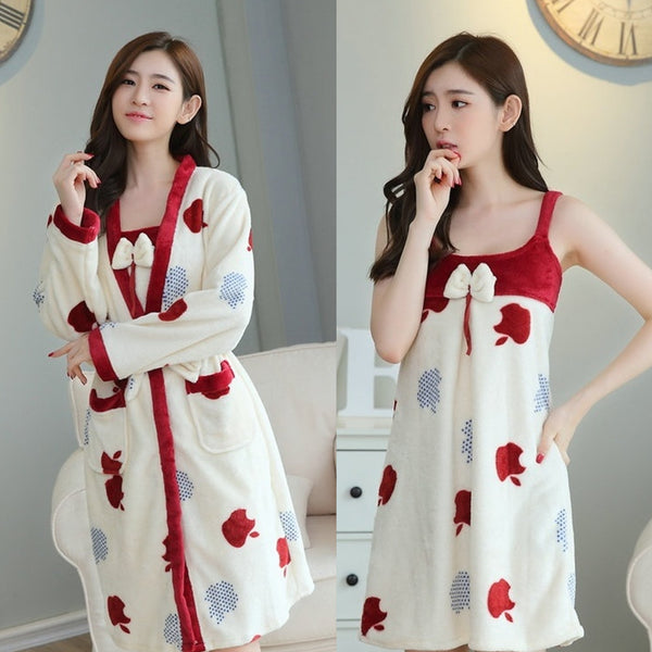 Thickening nightdress bathrobe warm flannel Set CODE: mon1704