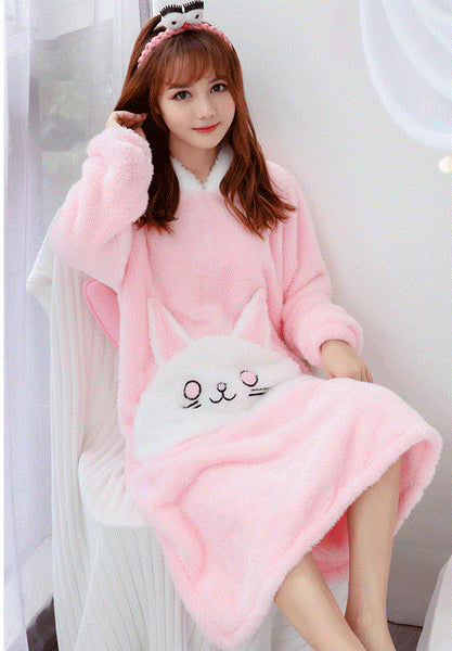 Hooded Thick coral nightdress Pajamas CODE: mon1705