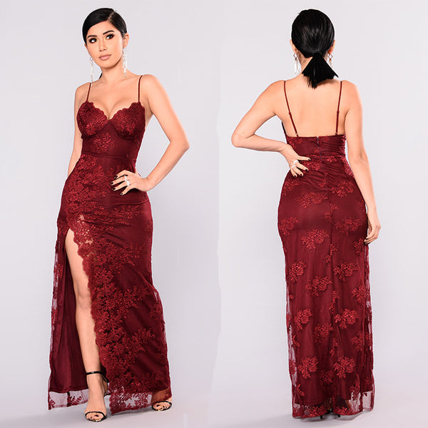White Wine Red Lace Sexy Strap nightclub party dress CODE: mon1713